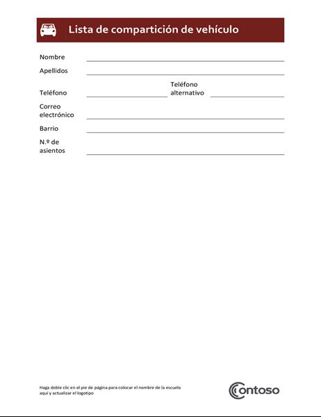 Lista de compartición de vehículo