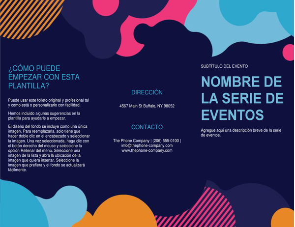 Folleto de evento con formas de colores intensos