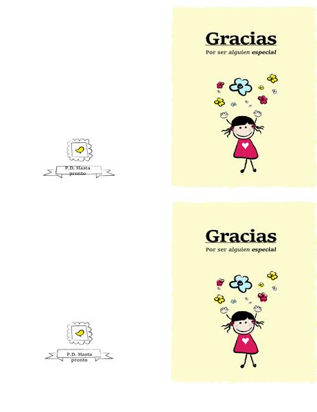 Tarjeta de agradecimiento para niña pequeña