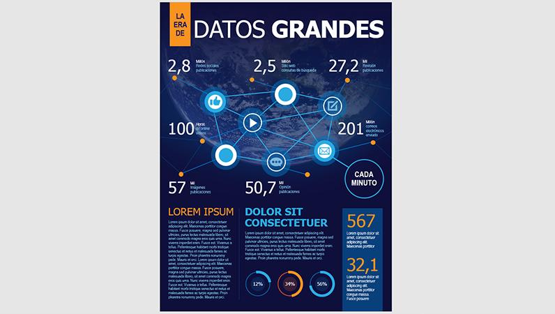 Póster de infografías de tecnología