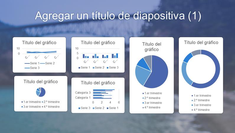 Panel azul con seis gráficos