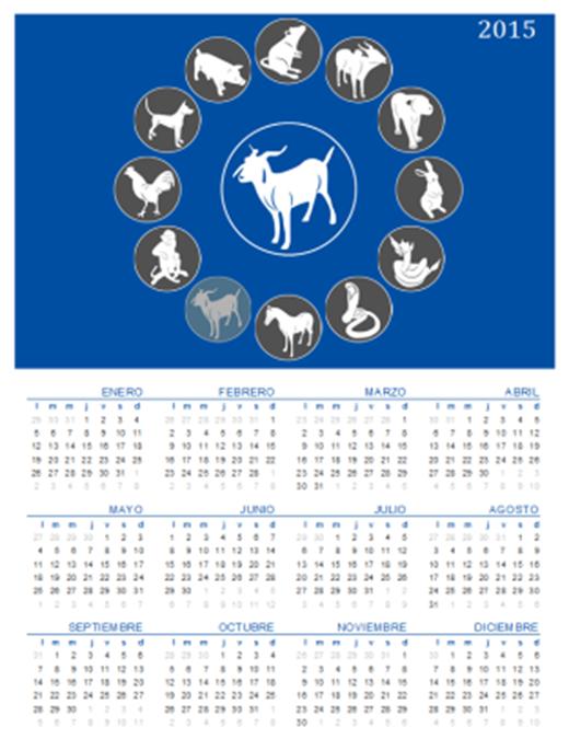 Calendario perpetuo con signos del Zodiaco Chino (Lun - Dom)