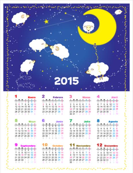Calendario perpetuo (Lun - Dom): Diseño infantil con ovejas