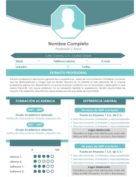 Currículum con fotografía (diseño en verde)