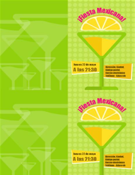 Tarjeta de invitación a fiesta (diseño cóctel, 2 por página)