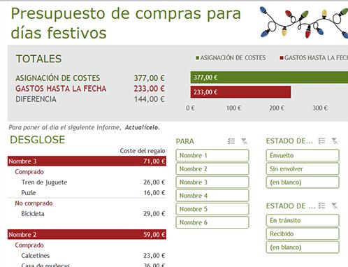 Presupuesto de compras para días festivos