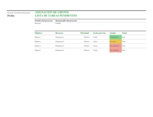 Lista de tareas pendientes de la asignación de grupos