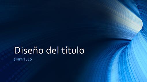Presentación de negocios con túnel azul digital (pantalla panorámica)