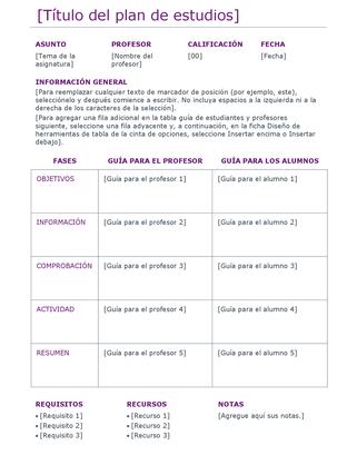 Plan de estudios (de colores)