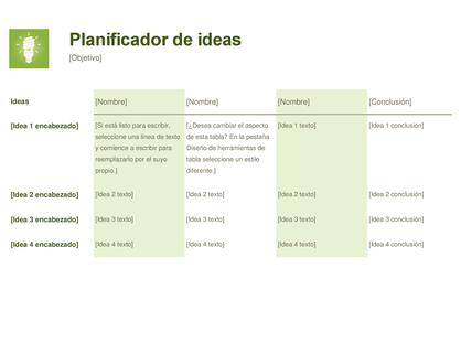 Planificador de ideas