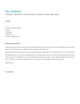 Carta de presentación con currículum vítae (cronológico)