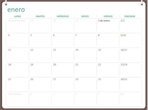 Calendario Mensual Word.Calendarios Office Com