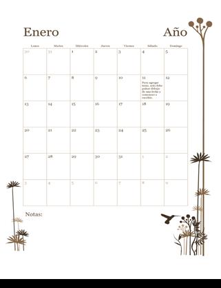 Calendario de 12 meses (de lunes a domingo)