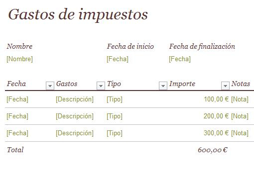 Diario de gastos de impuestos