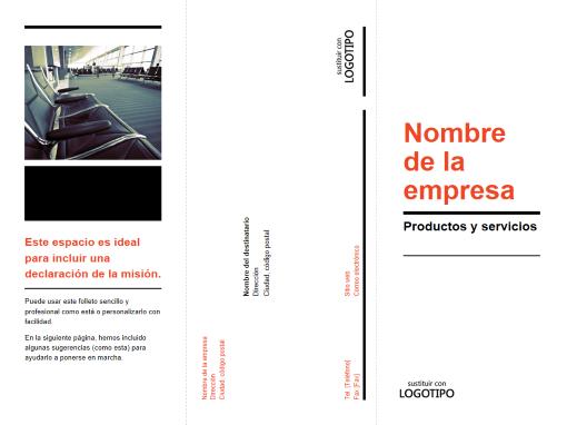 Folleto de negocios tríptico (diseño en negro y rojo)