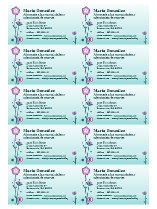 Tarjetas de presentación (ilustración floral, 10 por página)