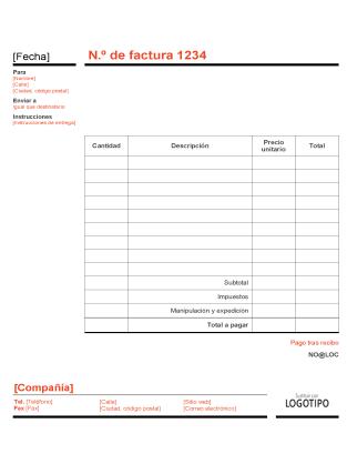 Factura empresarial (diseño rojo y negro)