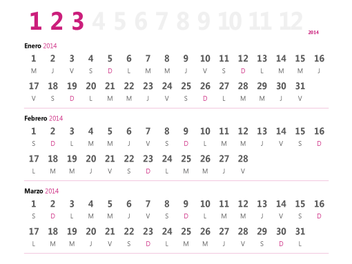 Calendario trimestral de 2015