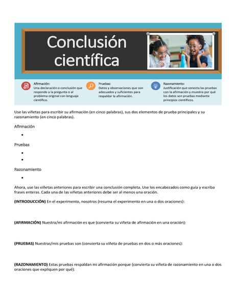 Hoja de ejercicios de conclusiones científicas