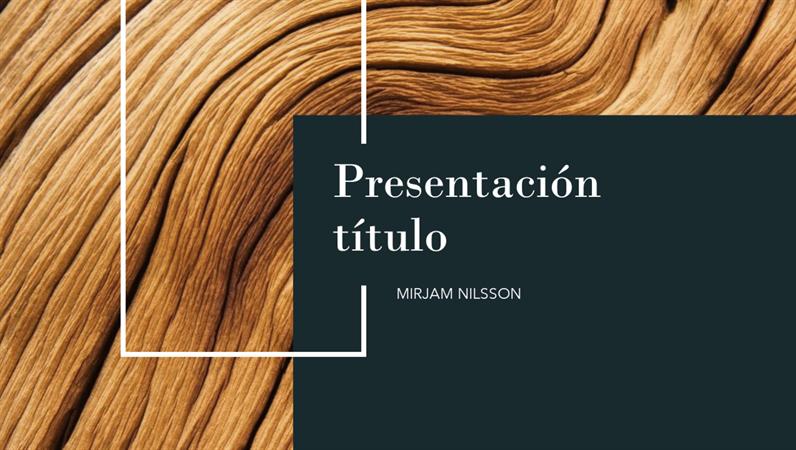 Presentación con diseño de madera oscura