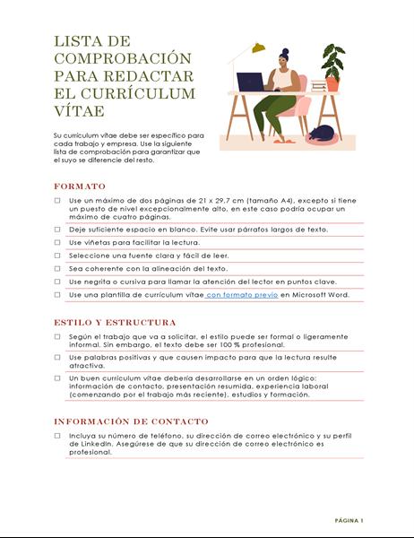 Lista de comprobación para redactar el currículum vítae
