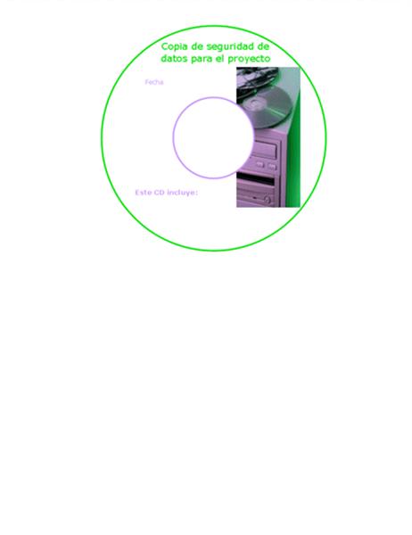 Etiquetas de portada de CD de copia de seguridad de datos