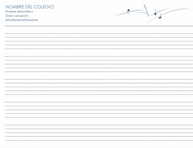 Partitura genérica (horizontal, 5 págs.)