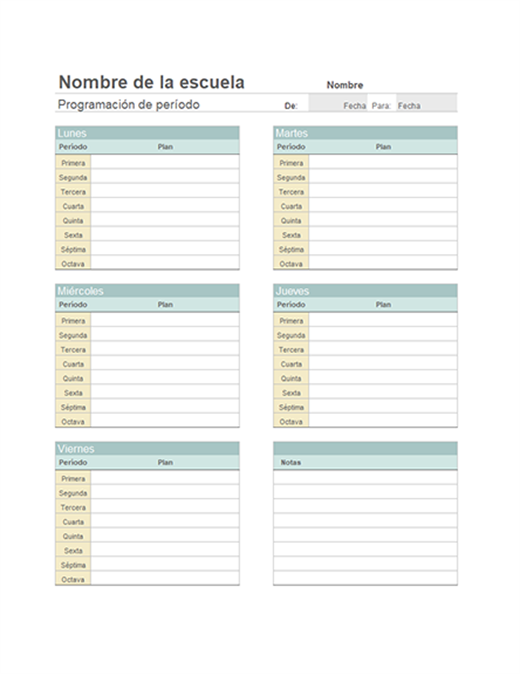 Planes de clases semanales del profesor