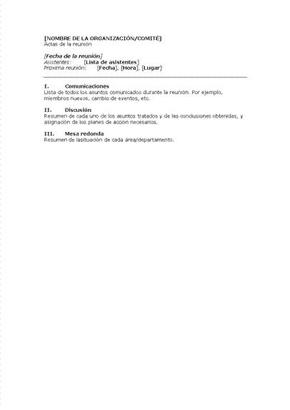 Actas de la reunión de organización (formato corto)