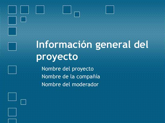 Presentación de información general del proyecto