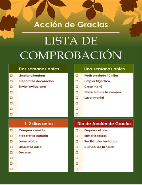 Lista de verificación de Acción de Gracias ecológico