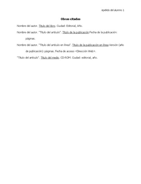 Lista de trabajos citados en formato MLA