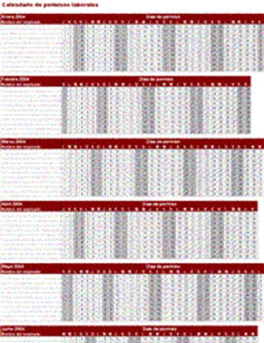 Calendario de permisos laborales