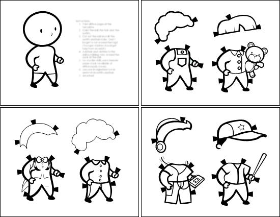 Muñecos de papel (para niño, para colorear)