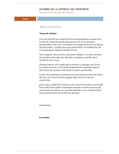 Carta de combinación de correspondencia (tema Intermedio)
