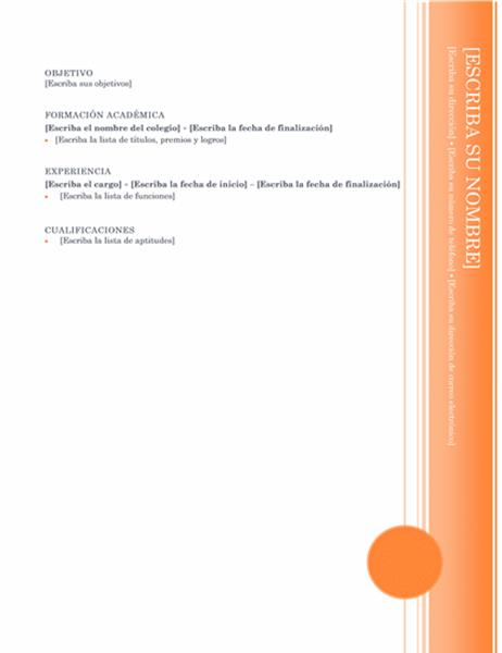 Currículum vitae (tema Mirador)