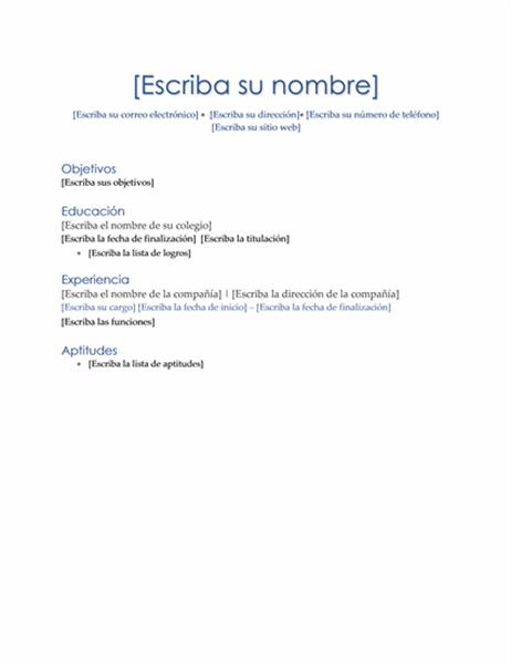 Currículum vítae (tema ejecutivo)