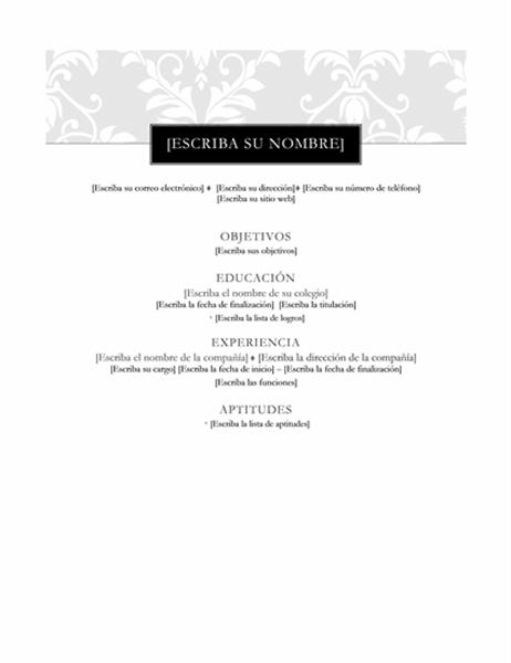 Currículum vítae (diseño de etiqueta)