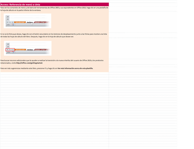 Access 2010: Libro de referencia de menú a cinta