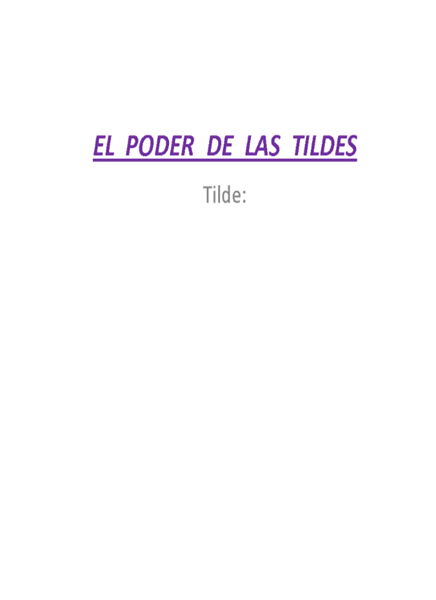 EL PODER DE LAS TILDES