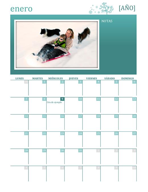 Calendario familiar estacional (cualquier año, Lun-Dom)