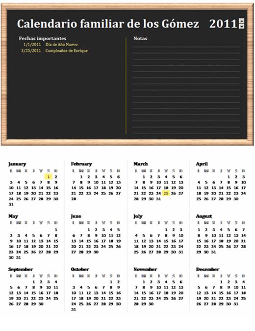 Calendario familiar (cualquier año, Lun-Dom)
