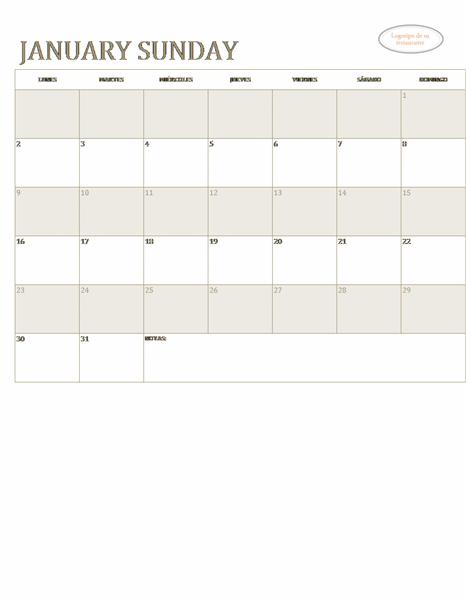 Calendario de pequeña empresa (cualquier año, Lun-Dom)