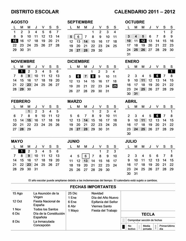 Calendario de distrito escolar 2011-2012 (Lun-Dom)