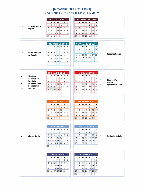 Calendario del año escolar 2011-2012 (1 pág., Lun-Dom)