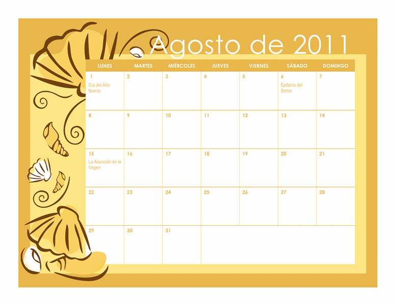 Calendario escolar 2011-2012 con diseños mensuales (Lun-Dom)
