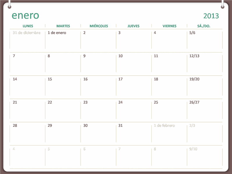 Calendario de anillas de 2013 (de lunes a domingo)