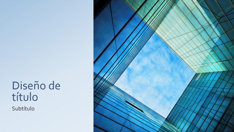 Presentación empresarial o de marketing con un bloque cuadrado de vidrio (pantalla panorámica)