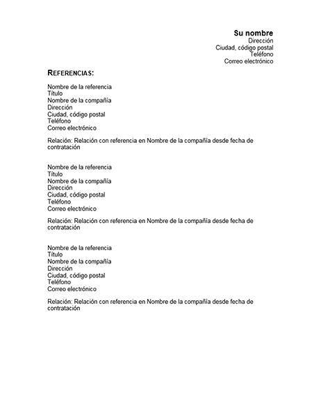 Referencias del currículum vítae
