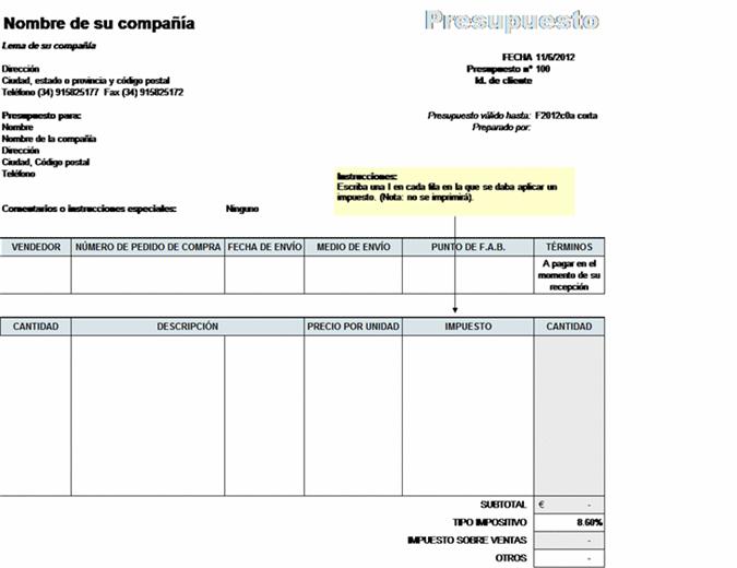 Precio ofertado con cálculo de impuestos